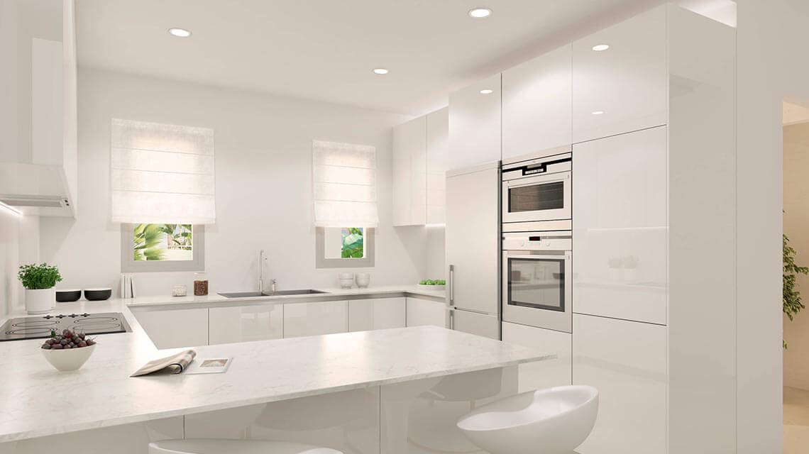 Open, fully fitted kitchen